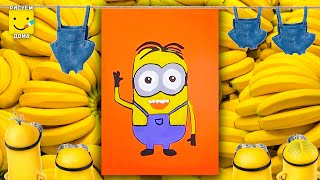 Как нарисовать Миньона - урок рисования для детей 4-6 лет. Дети рисуют Миньона поэтапно.