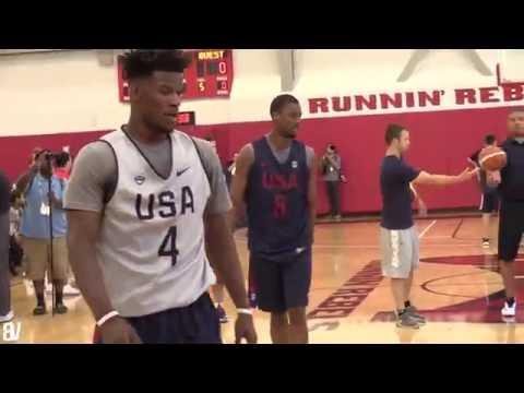 Team USA Drills: 1 on 1  Jimmy Butler destroys Kyrie Derozan, Lowry Barnes
