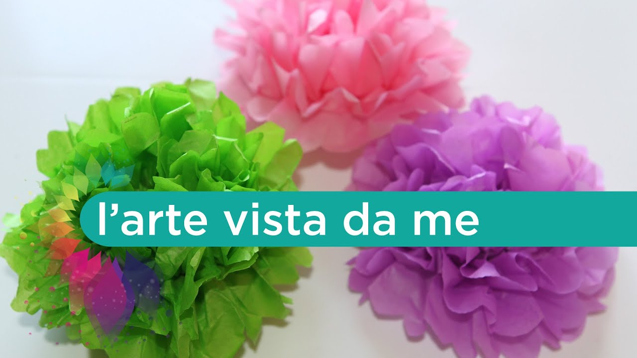 Pom pom carta velina tutorial   How to make tissue paper pom pom   Wedding  party decoration     -> Lampadario Fai Da Te Carta Velina