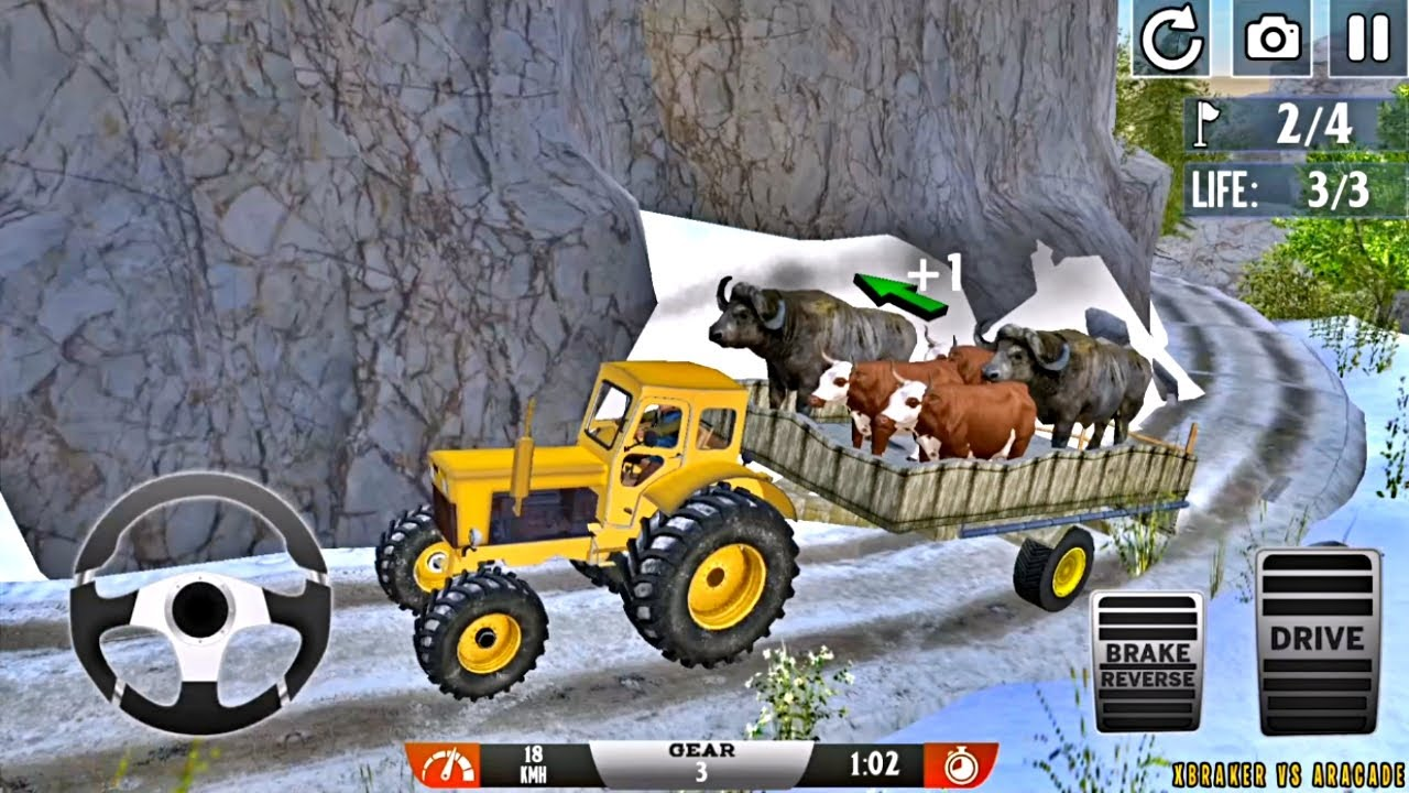 Offroad Animal Tractor Transporter - Yellow Tractor Offroad Driving - Android Gameplay FHD