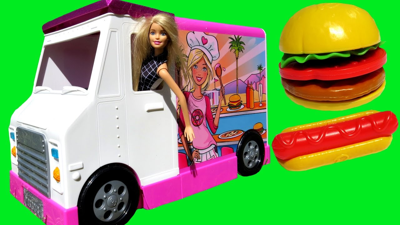 FOOD Truck ! ELSA & ANNA toddlers & Barbie - KETCHUP everywhere - Hotdogs Burgers Pizza Sand