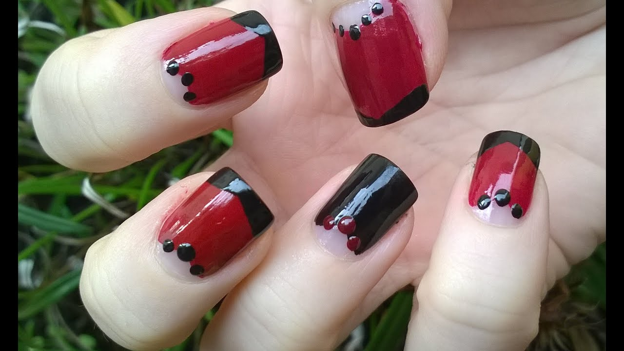 Easy Nail Art Designs Fallwinter Diy Red Black Half Moon