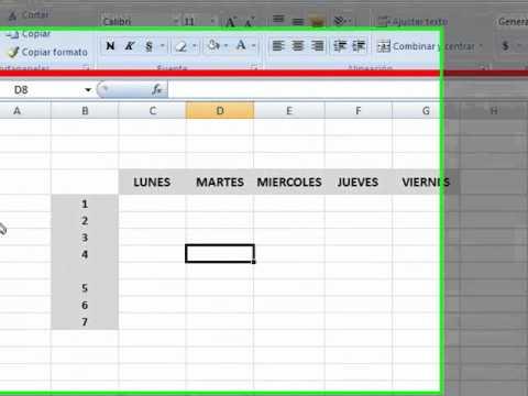 CUADROS EN EXCEL 2007 - HORARIO DE CLASE.wmv Taller 1 - YouTube