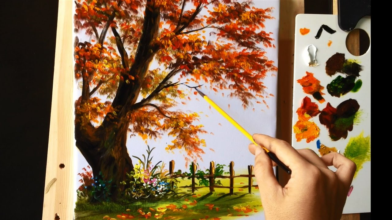 How to Paint a Tree with Acrylic Lesson 8 - YouTube