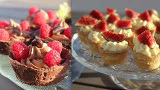 Tartelettes mit Schokocreme, weiße Schokoladen-Orangencreme, Kaffeecreme