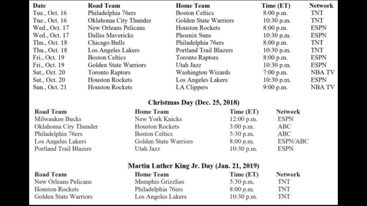 Christmas Day Nba Games 2019.Nba 2018 2019 Schedule Release Opening Night Christmas Day Games Rwm Nba Discussion