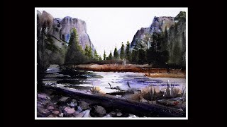 Watercolour Demonstration of the Yosemite National Park.