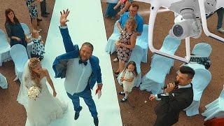 Свадебная съемка с квадрокоптера, квадрокоптер на свадьбе