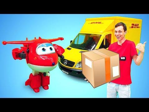Машинка Брудер МЕРСЕДЕС! Доставка грузов героям мультфильмов. Игры для детей