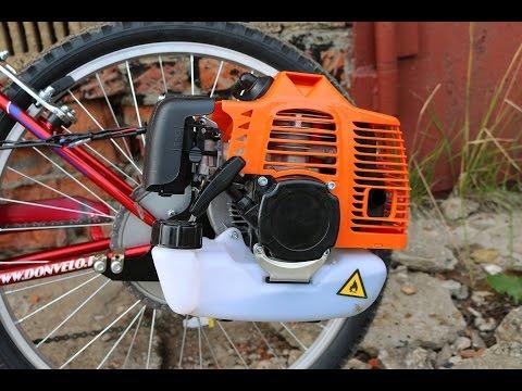 Как установить двигатель от бензопилы на велосипед видео