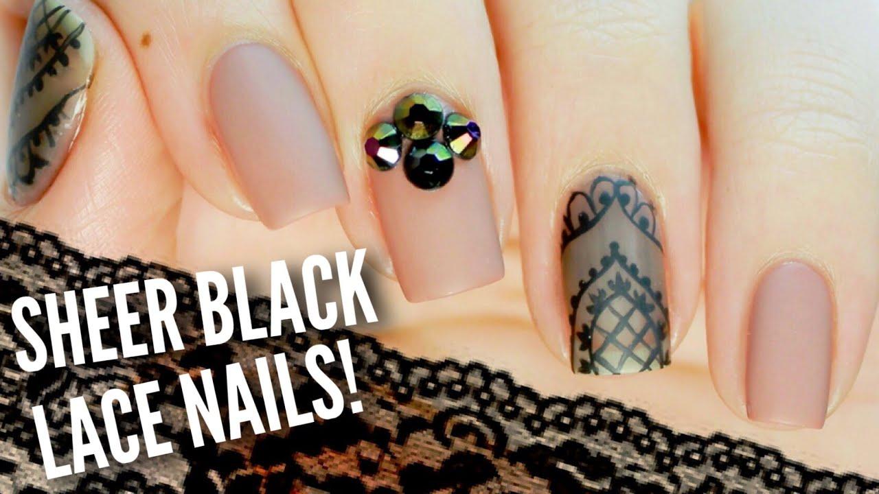 DIY Sheer Black Lace Nail Art | Mixing Nail Polish Hack! - YouTube