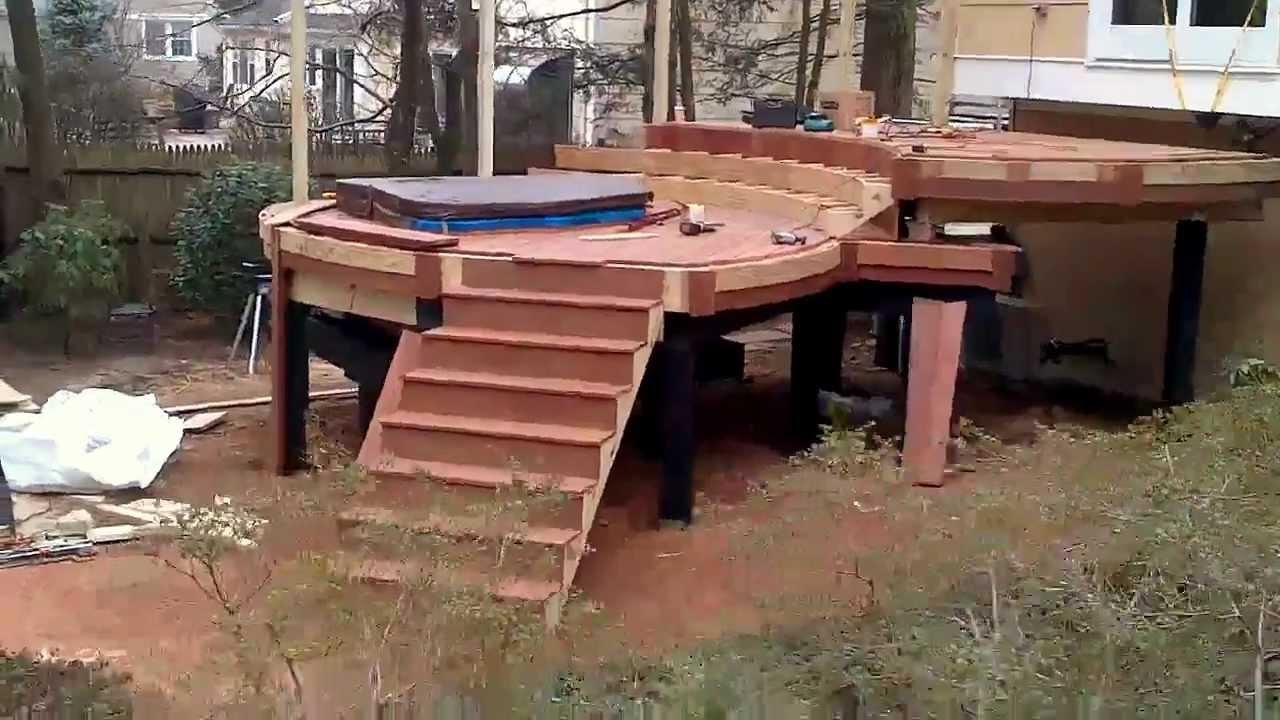 deck builder zen brazilian chestnut multilevel round abaco deck with sunken hot tub pt2