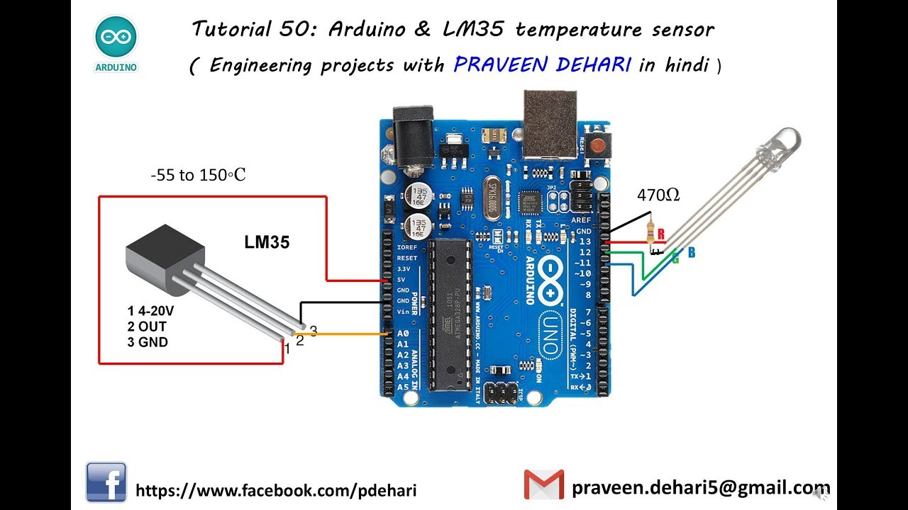 Arduino lm temperature sensor tutorial youtube