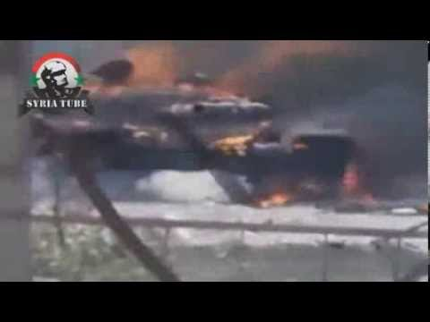 Сирия, горящий танк