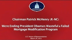 Ending HAMP: President Obama's Mortgage Program that Fails Homeowners, Wastes Taxpayer $