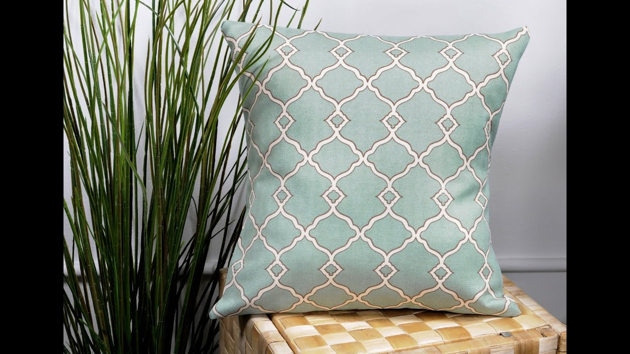 DIY No Sew Pillow Tutorial with Outdoor Fabric