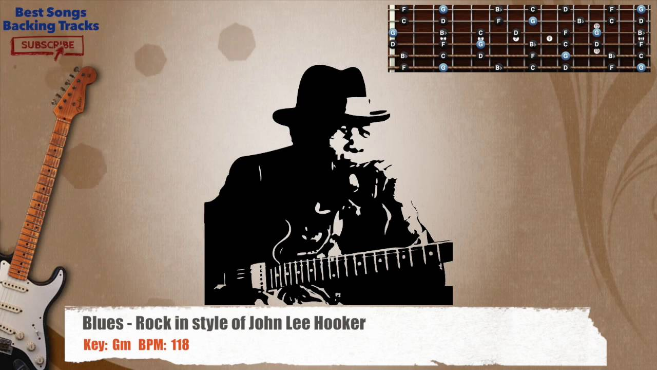 Blues - Rock in Gm style of John Lee Hooker Guitar Backing Track with  chords and lyrics