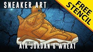 Sneaker Art: Air Jordan 6 Wheat w/ Downloadable Stencil