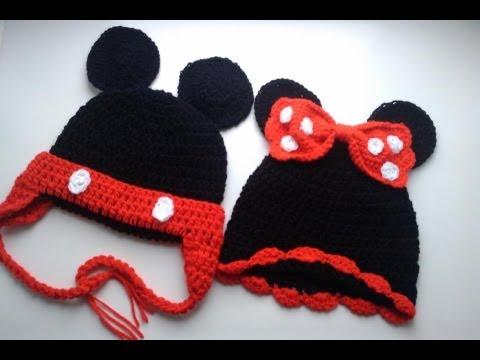 Crochet Cap Puff Stitch Minnie Mouse Mickey Hat Beanie Flower Fresh
