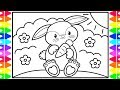 How to Draw a Bunny Rabbit Step by Step for Kids 🐰🥕Bunny Coloring | Fun Coloring Pages for Kids