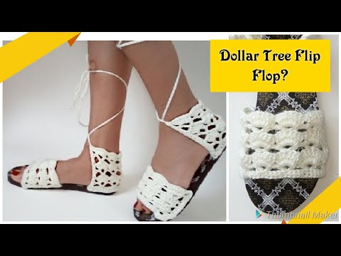 a709c3f35 ⭐Crochet Sandals With Flip Flop Soles⭐ Day 5 Scrap Yarn Crochet Projects