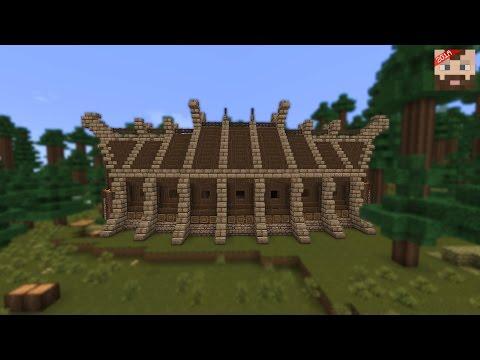 Minecraft Tutorial   Viking Long House -- exterior
