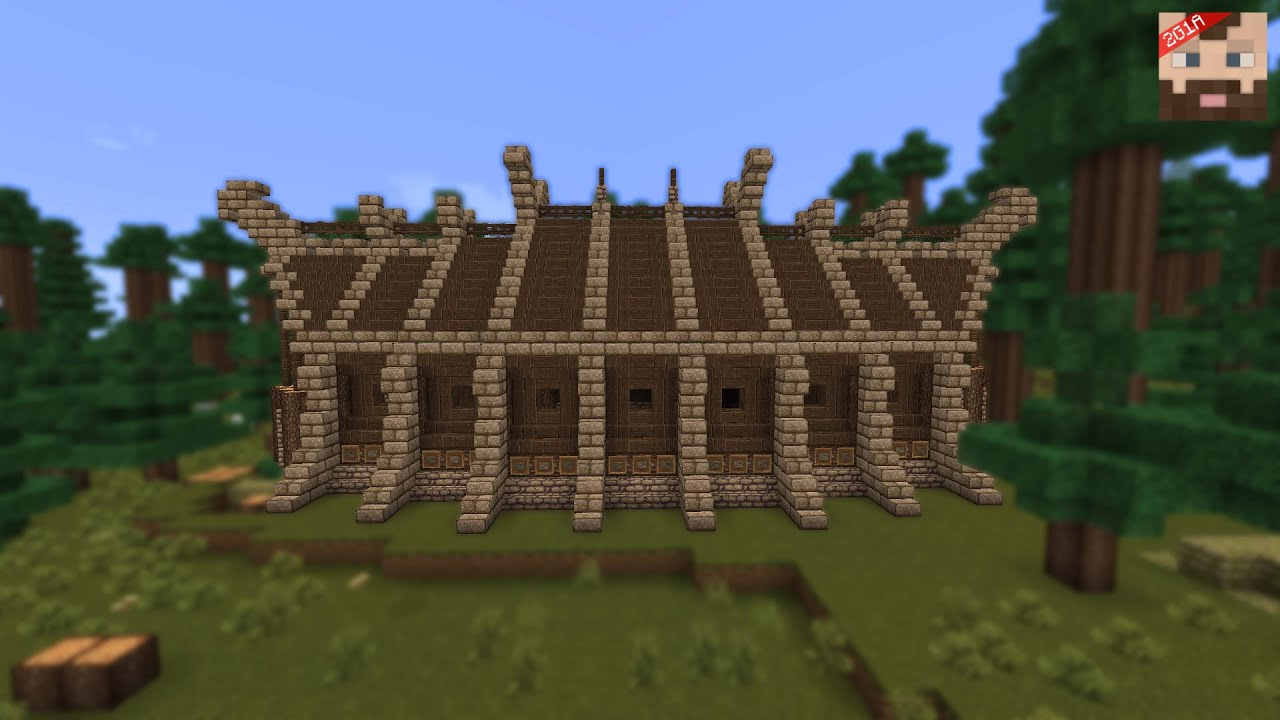 minecraft tutorial viking long house exterior youtube