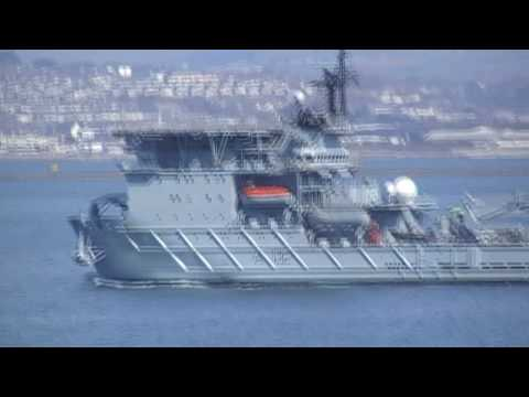 RFA Diligence A132 Videoed From MV Pont Aven Plymouth, England 9th April 2010
