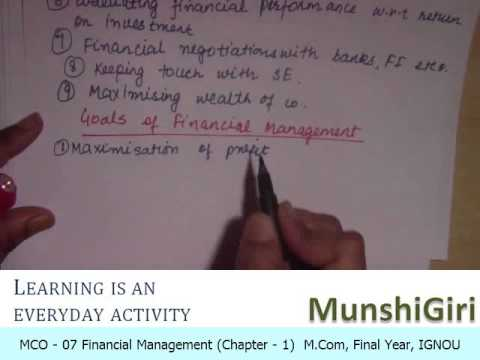 Financial Management Ch 1, Overview for M.Com Final Year (IGNOU)
