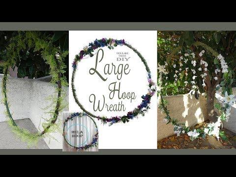 Large Hoop Wreath DIY / Wedding Wreath / Floral Wreath / Dollar Tree DIY /  Party Decor