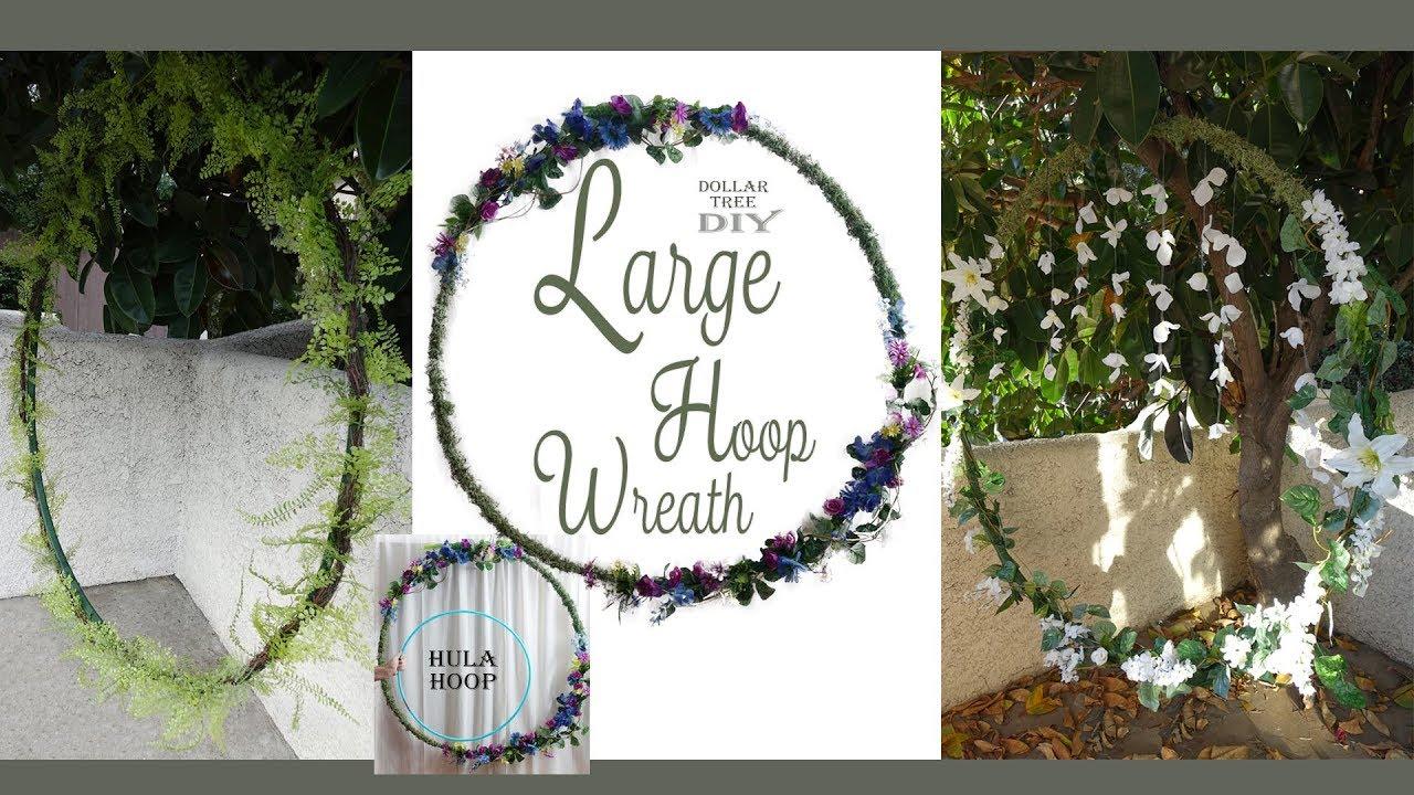Large Hoop Wreath Diy Wedding Wreath Floral Wreath Dollar Tree Diy Party Decor