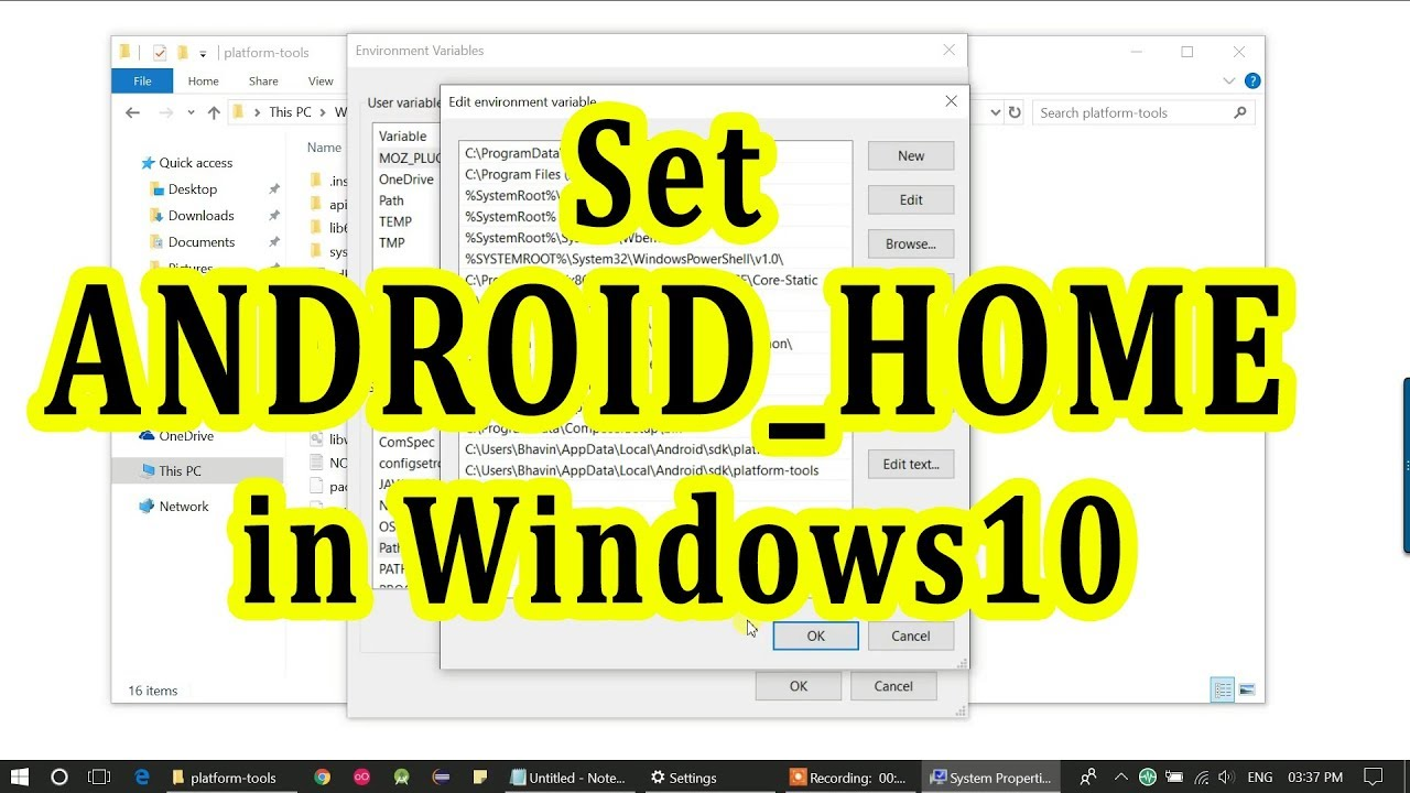 How to set ANDROID_HOME and environment variable for Android SDK in Windows  10