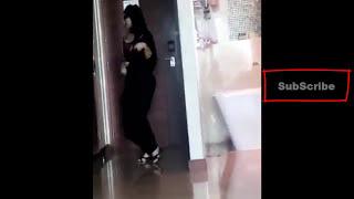 Sexy Hijab Beauty in Abaya Walk jiggling in UAE - i am trying to walk like model :D