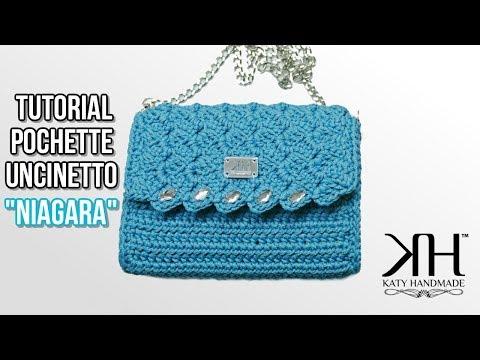 """Tutorial pochette uncinetto """"Niagara"""" - Lavorazione a pannello PUNTO PRADA ♡ Katy Handmade"""