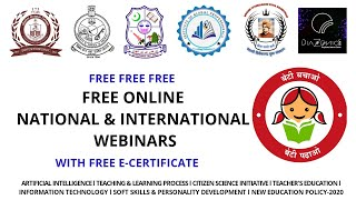 International & National webinars with free certificate ll Upcoming online seminars ll e-learning