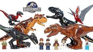 Jurassic World Fallen Kingdom Indoraptor T-Rex Carnotaurus & Hybrids Unofficial LEGO Set