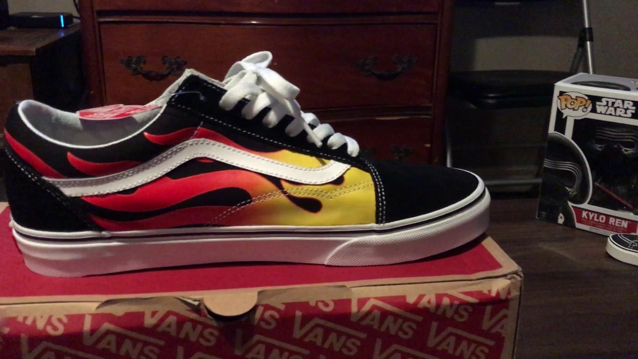 328c450091 Official Vans X Thrsher Flame Fire Black Slip-On Skate Shoes For .