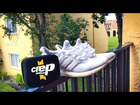 HOW TO CLEAN WHITE SHOES w/ CREP PROTECT CURE (Adidas Ultra Boost)