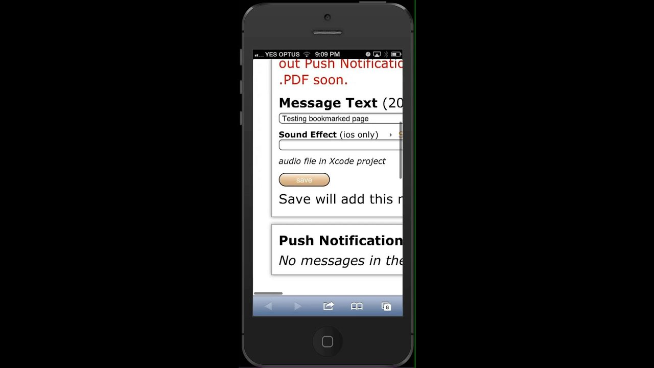 Using webpage bookmark to send Push Notifications via Buzztouch com
