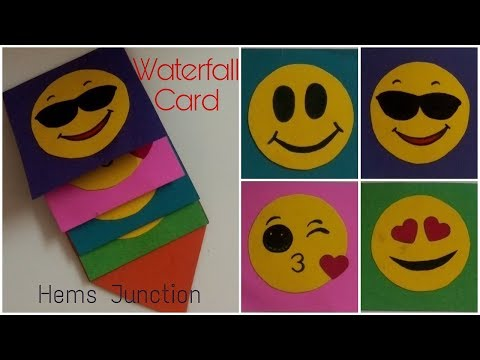 How to make Mini Emoji Waterfall Card | Emoji Waterfall Card tutorial