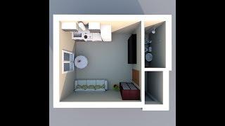3D планировка студия 23кв Компания ДОМ