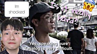 Can a filipino speak straight 100 percent tagalog? | shocked | korean reaction