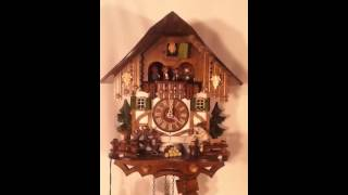 Quartz Cuckoo Clock, Animated Wood Chopper, Water Wheel, Dancers, Model #q 6563/9