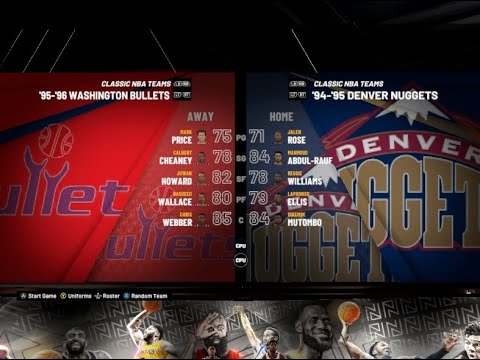 Wizards Nuggets 1995 Nba 2k20 Legends Roster Youtube