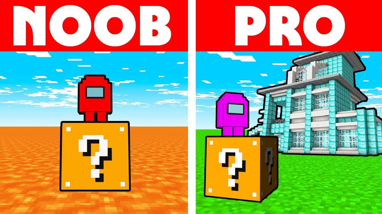 Among Us Vs Minecraft - NOOB VS PRO: LUCKY BLOCK RACE CHALLENGE!