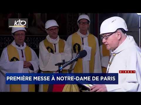 Première Messe à Notre Dame De Paris, Deux Mois Après L'incendie   Reportage