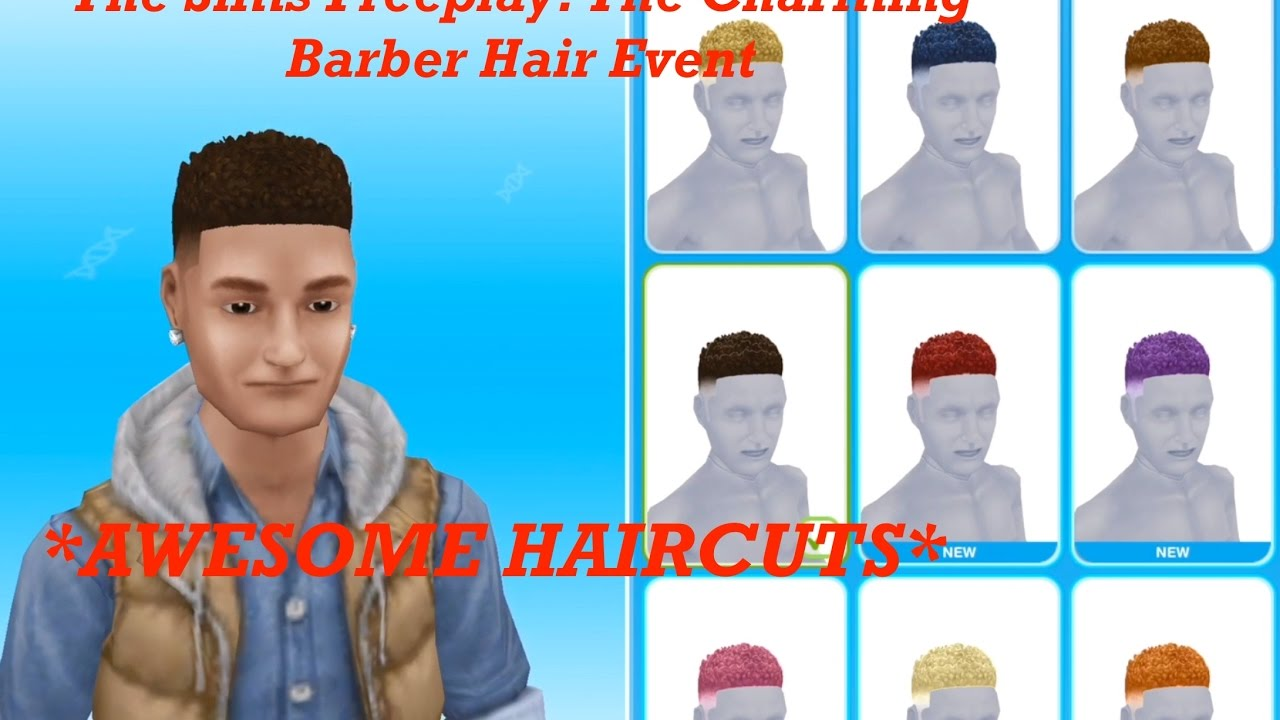 the sims freeplay: the charming barber hair event (88 haircuts & 8 styles)