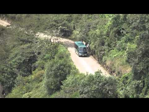 Here's The Zig Zag Road Bus from Aguas Caliente up to Machu Picchu