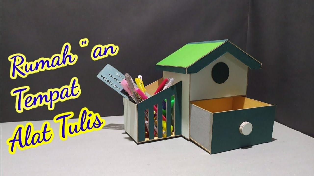 Membuat tempat alat tulis rumah - rumahan dari karton ...