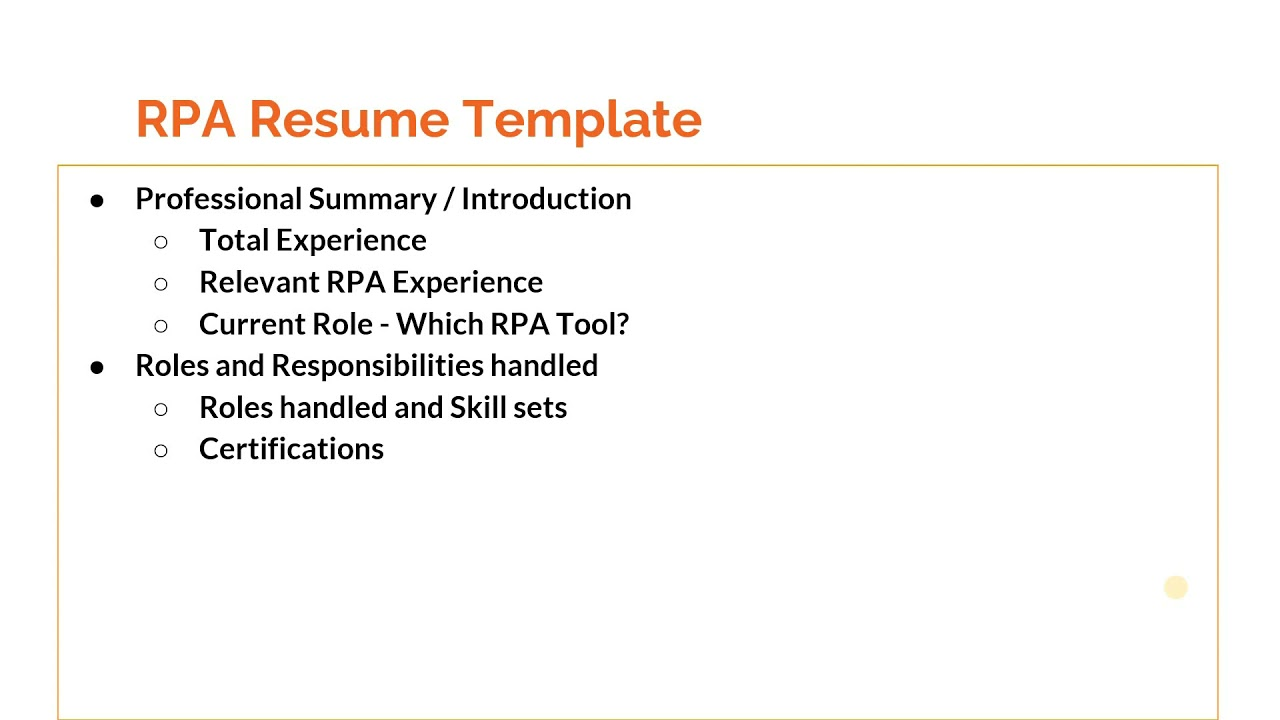 How to prepare a killer RPA resume ?